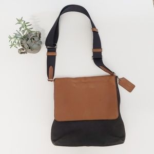 Leather & Canvas Coach Crossbody Purse